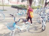 漯河:共享单车乱停放 环卫工人扫地难