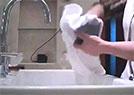 五星酒店用浴巾擦杯