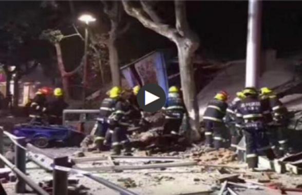 昆山店铺倒塌事故续:倒塌面积近千平米 无人员伤亡