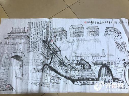 章丘68岁老人手绘老城地图 老明水老城墙大水磨