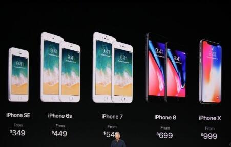 iPhone X成苹果首发价格最高的产品 图片来源:苹果发布会
