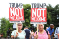 Donald Trump arrives for contentious UK visit