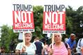 Donald Trump arrives for contentious UK visit